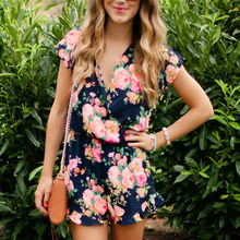 Sexy Casual Romper Women Clothes 2019 Flowers Short Sleeve Chiffon Jumpsuit Summer