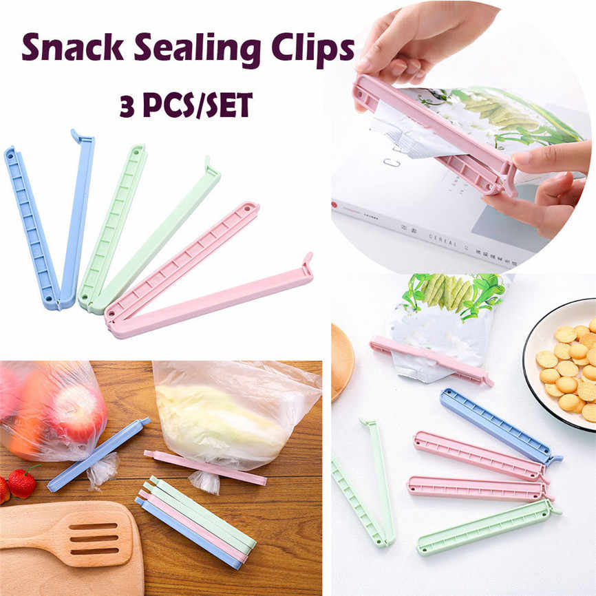 3Pcs Portable Bag Clips Handheld Food Plastic Sealed Clip Sealer Clamp With Date Mark Snack Sealing Clips Food Close Clip J#1