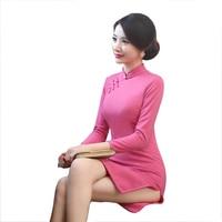 Chinese Women Novelty Mini Dress Autumn Winter New Woollen Sexy Qipao Mandarin Collar Solid Color Cheongsam