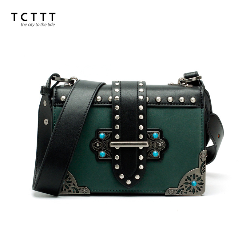 TCTTT High Quality woman Shoulder bags Fashion Split leather luxury handbags women bags designer Rivet style tote Crossbody bag tcttt luxury handbags women bags designer fashion women s leather shoulder bag high quality rivet brand crossbody messenger bag