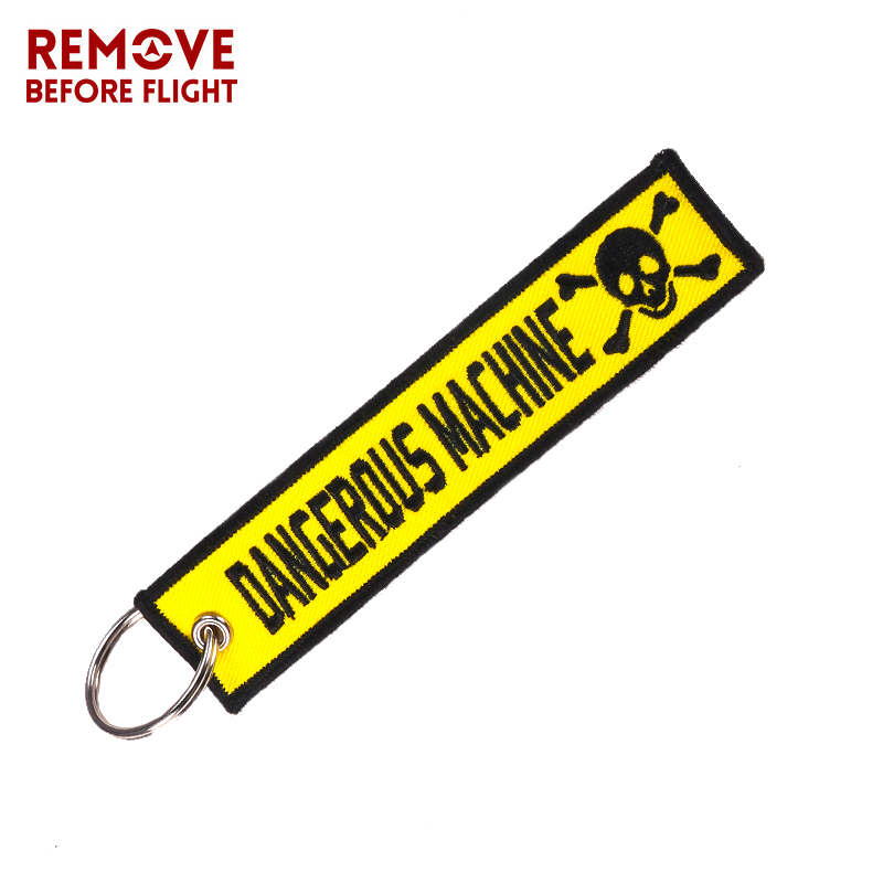Dangerous Machine Warning Tag Keychain For Factory Motorcycles And Cars Safty Key Tags Embroidery Yelloew Danger Skull Keychain