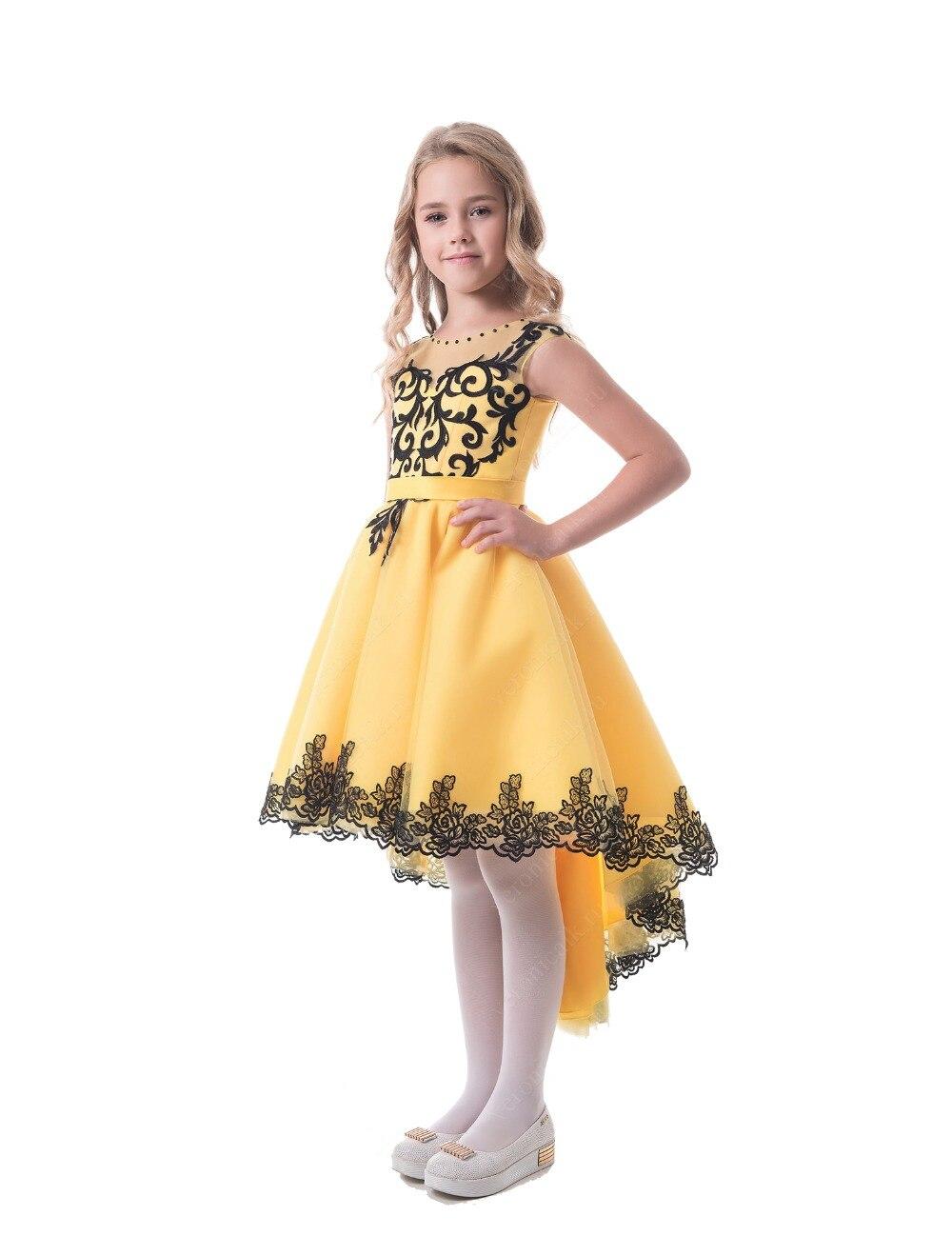 2017 Kids High Low Flower Girl Dresses Yellow Black Girls Pageant