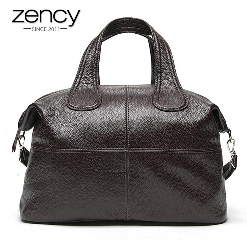Zency 100% пояса из натуральной кожи для женщин сумки кофе Дамы Tote сумки классический черный Crossbody Кошелек Бостон сумка