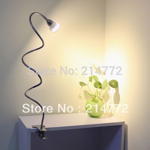 Jiawen 3W High Power LED DESK LAMP clip table lamps reading lights for bed free shipping, AC90-260V