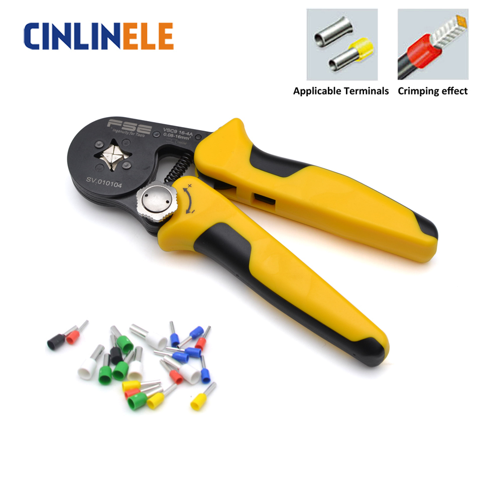 HSC9 16-4 0.08-16mm 11-5AWG Exquisite Package Adjustable Precise Crimp Pliers Tube Bootlace Terminal Crimping Hand Tool HSC8 6-4