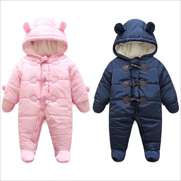 2018 baby winter clothes thicken cotton   romper   outwear one piece clothes boys winter jump suit bebes winter clothes gray 6-18M