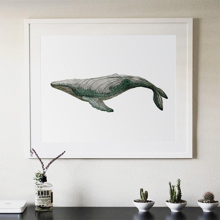 Deux sortes de baleine abstraite moderne décorative 40X50 CM peinture aquarelle peintures minimaliste ameublement bijoux