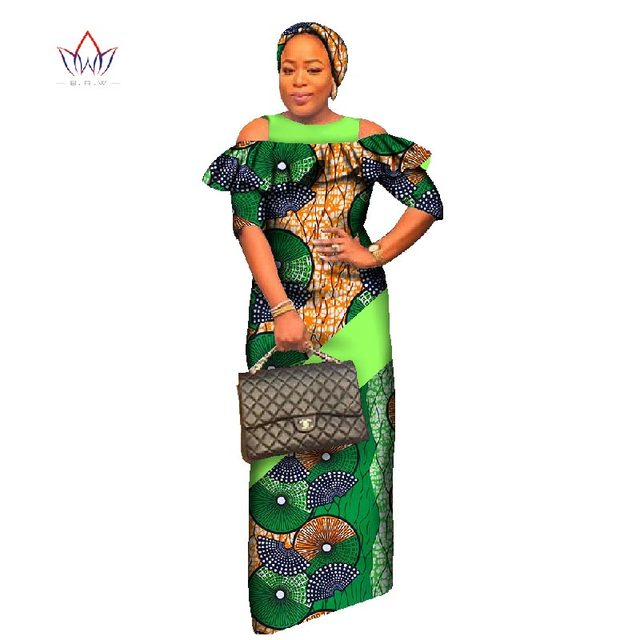 2017 African Dresses for Women Half Sleeve Party Dress Plus Size Bazin Riche 6XL Dashiki Print African Clothing BRW WY1742