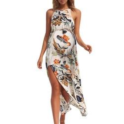 Fashion Maternity Dresses Women's Strap Sleeveless Fork Openin Print Floral Long Dress Photography Props Premama Summer Dresses