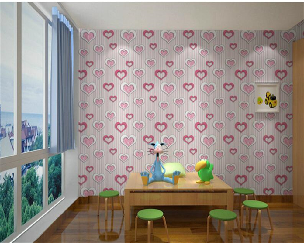beibehang Simple Rose Heart Heart Wallpaper Bedroom Living Room Background Clothing Shop Pink Purple papel de parede Wallpaper