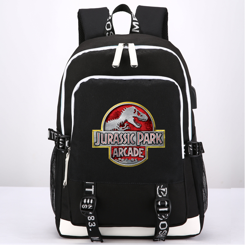 Jurassic Park Jurassic World Dinosaur Student Book Bag Rucksack Student School Bag For Boys Girls Travel With Usb Port Charging