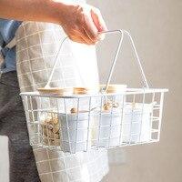 White Wrought Iron Storage Basket Japanese Portable Bathroom Toiletries Organizer Basket Kitchen Vegetable Seasoning Basket