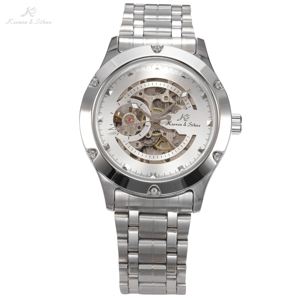 KS NAVIGATOR Series Stainless Steel Silver Case Luxury Skeleton Dial Automatic Mechanical Male Clock Men Business Watch / KS206 charlotte olympia эспадрильи из кожи и льна mischievous flats