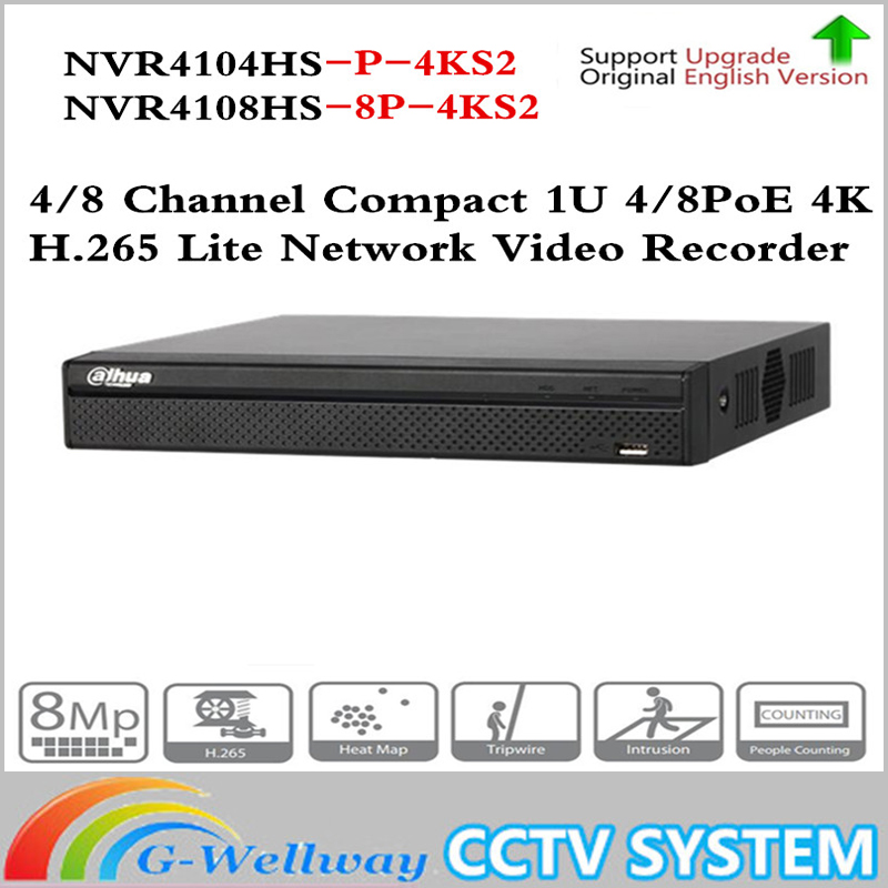 цена Original Dahua NVR NVR4104HS-P-4KS2 NVR4108HS-8P-4KS2 with 4/8ch PoE Port H.265 Video Recorder Support ONVIF CGI Metal POE NVR
