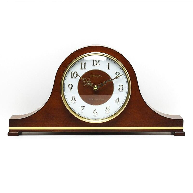 Weilingdun Music Hourly Chiming High Quality Table Clock Europe Antique Wooden Mute Quartz Desktop Clock T20211