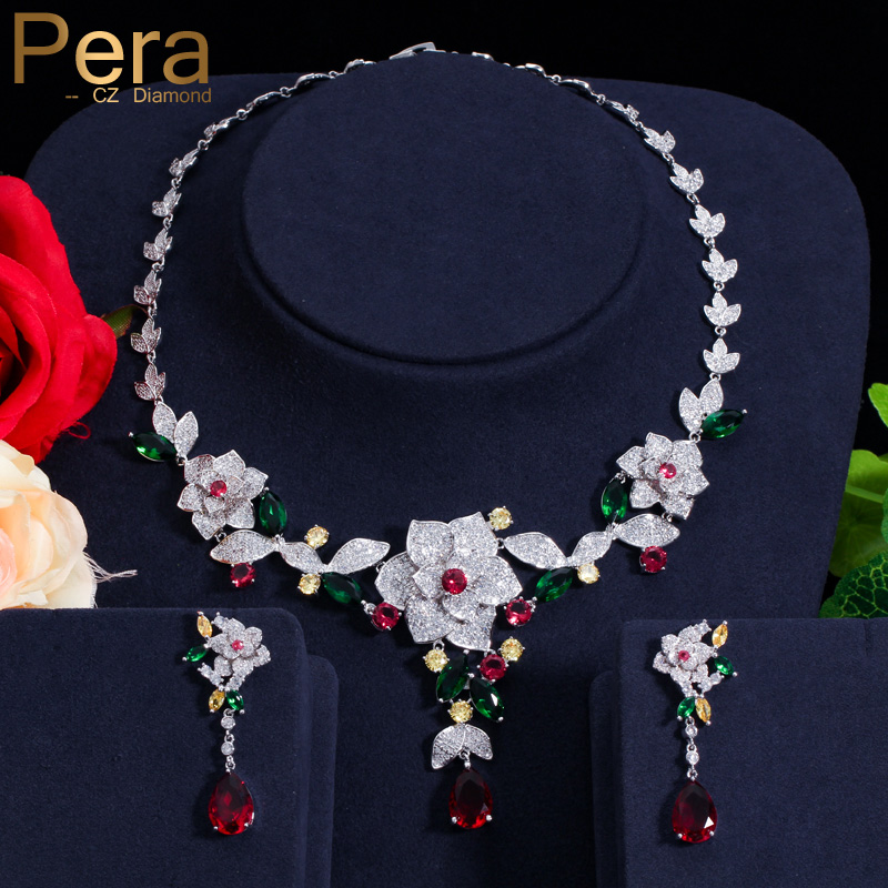 Pera Noble Bridal Wedding Jewelry Accessories Big Heavy Flower Pendant Cubic Zirconia Necklace And Earrings Set For Brides J247 цена