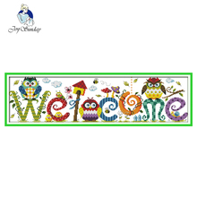 JOY SUNDAY,Needlework,DIY DMC Cross stitch,Sets For Embroidery kit Owl welcome card home decoration Counted stitching