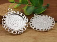 New Fashion 3pcs 25mm Inner Size Silver Pierced Style Cabochon Base Setting Charms Pendant (A3-48)
