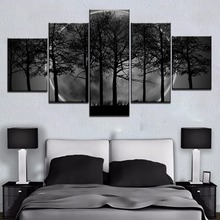 Framed HD Print 5 Panel Black Moon Tree Forest Cuadros Landscape Canvas Wall Art Home Decor For Living Room Painting