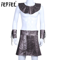 IEFiEL High Quality Men Faux Leather Gladiator Costume Outfit Kilt With Collar Cuffs Cosplay Clothing Party