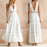 V Neck Women Dress White Lace Pleated Dresses Summer 2019 Backless Robe De Plage Maxi Elegant Plus Size New Arrival Navy Vadim
