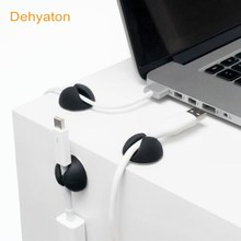 Dehyaton Holder Cable Winder Wire Organizer Desktop Clips Management Headphone Cord Holder For iPhone Charging Data Line protect(China)