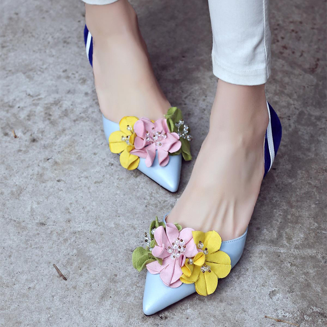 flowers spell color thin pointed closed toe designer fashion elegant simple shoes 3
