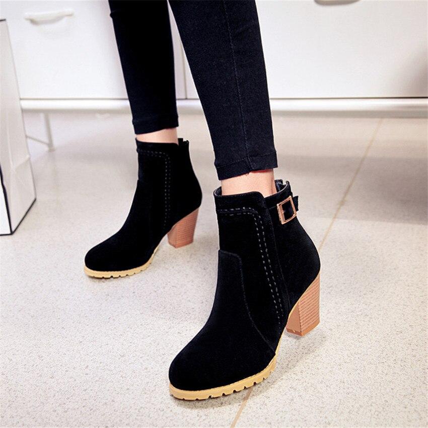 Spring Autumn Women Ankle Boots Square Med High Heel Woman Short Boots Ladies Shoes botas Plus Size 34-40 41 42 43