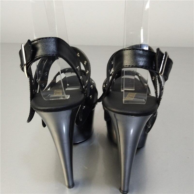 7 Glitter Frauen High Sexy Wunderschöne Schwarzes Für Punk Heels 15 Plattform Clubbing Cm Mode Dancer Exotic Sandalen Zoll Schuhe x6Ev0Y