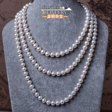 YANCEY Fashion classic natural freshwater pearl necklace 7-8mm -120cm-160cm long section of nearly round glare Multilayer