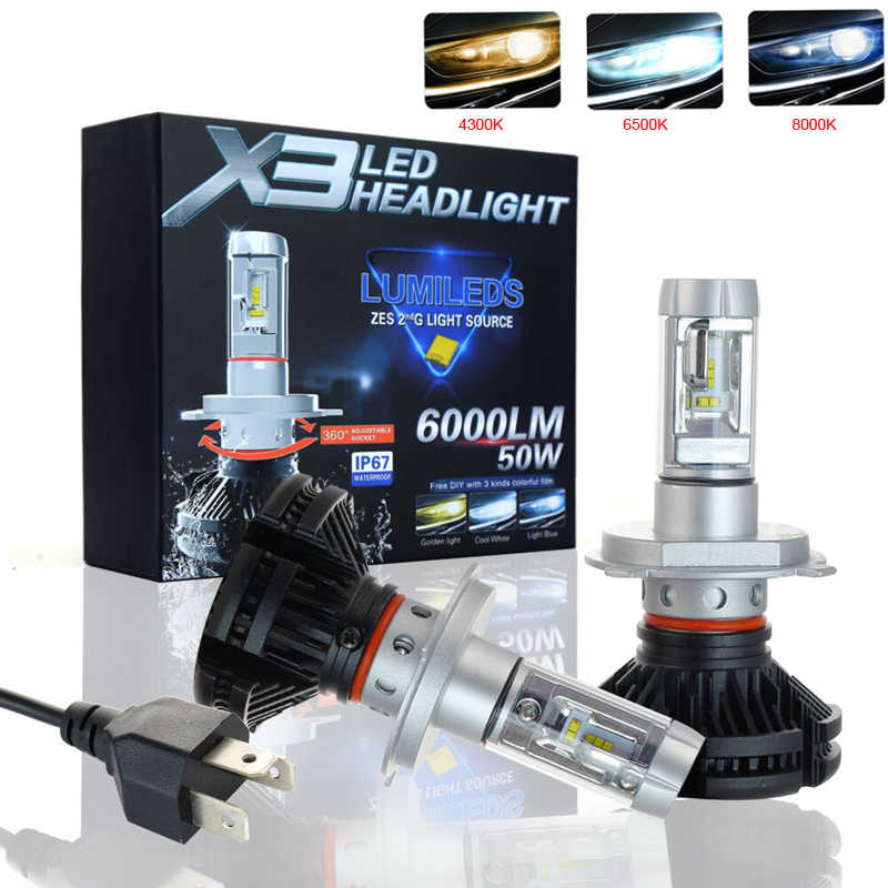 Elglux 2Pcs 9005 HB3 9006 HB4 H11 H4 H7 Led H1 Auto Car Headlight 50W 6000LM IP67 Automobile Bulb All In One CSP Lumileds Lamp