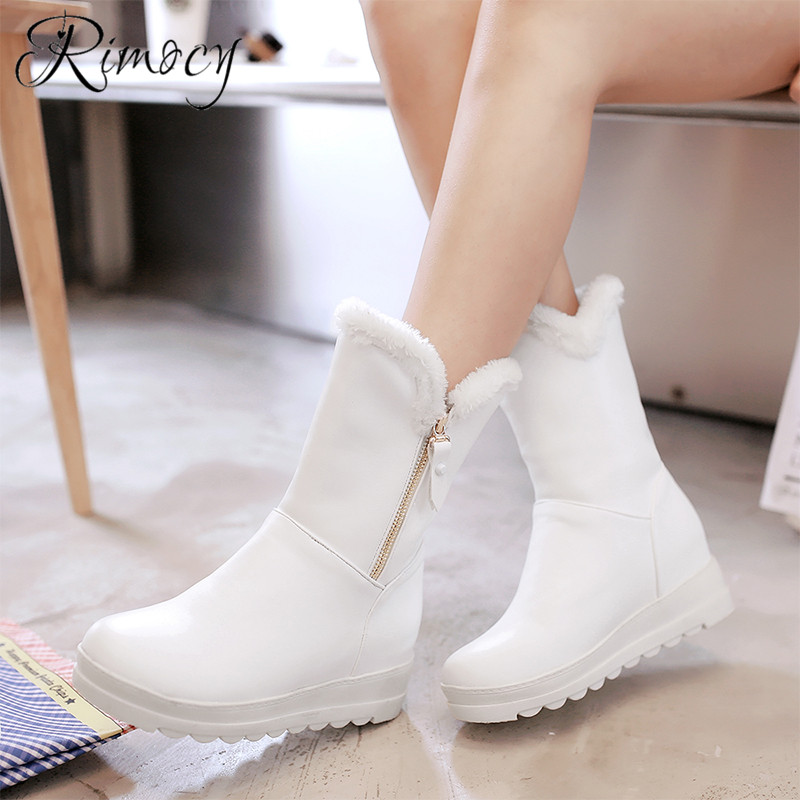 Rimocy faux fur botines mujer 2018 winter women mid calf boots lovely pink boots for girls large size shoes platform boots femme