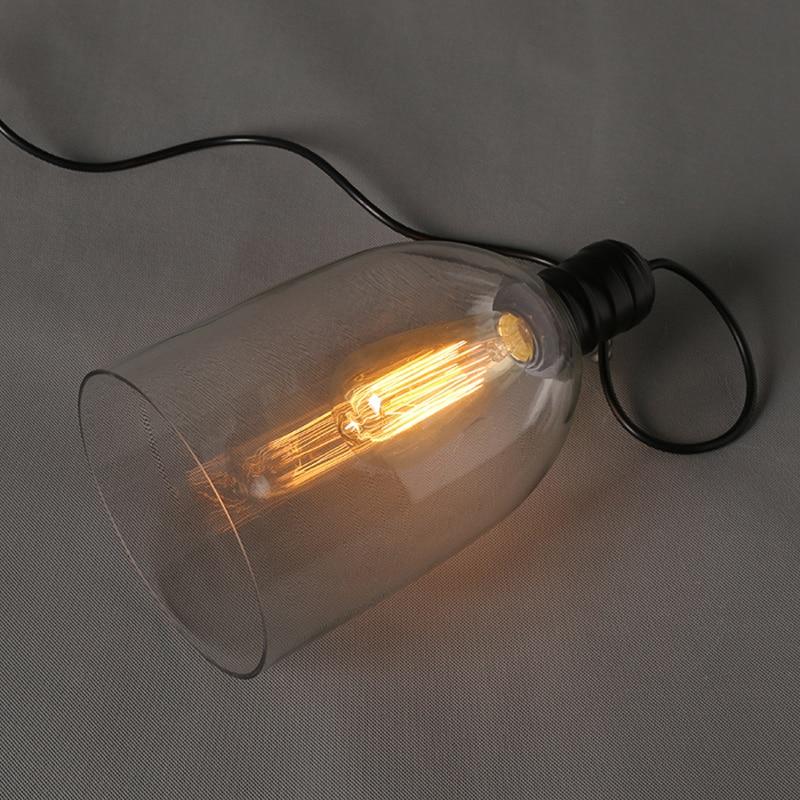 Luzes pingente de ferro do vintage de vidro branco pendurado sino pingente lâmpada E27 110 V 220 V para sala de jantar decoração de casa planetário HM41 - 6