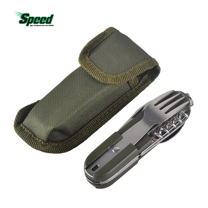 Traveling Outdoor Sport Portable Hiking Camping Picnic Multifunctional Foldable Cutlery Tableware Stainless Steel Fork Spoon Set