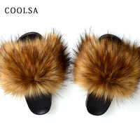 New Winter Warm Fur Slippers Women Faux Fox Fur Slides fluffy Plush Sandals Flat House Shoes Woman Casual Raccoon Fur Flip Flops
