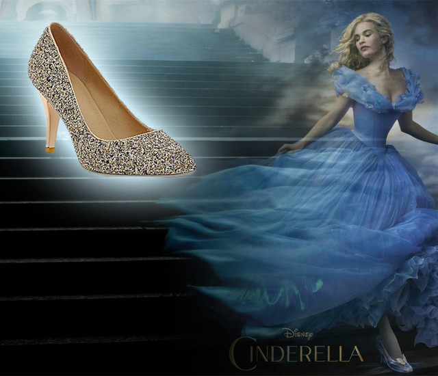 2015 new Cinderella shoes cosplay girls lady woman twinkling Shining  Rhinestone high heeled wedding shoes Pumps and gift packing 42f01f7a954d