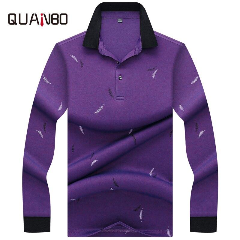 QUANBO Marque 2019 nouveauté Hommes Polo qualité supérieure 3D Broderie Polo Mode décontracté hommes à manches longues Polo