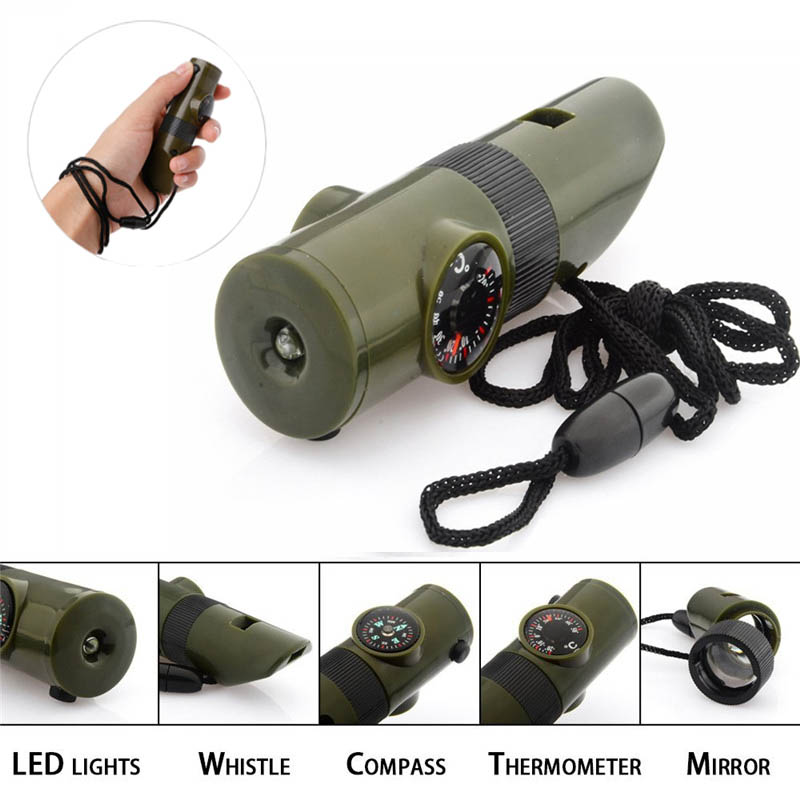 7 In 1 Outdoor Emergency Survival Whistle Compass Multifunction Tool Magnifier Flashlight Storage Thermometer For Camping Hiking