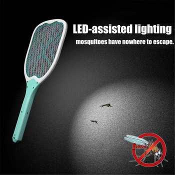 USB Recarregável Bug Zapper Voar Swatter Mosquito Elétrico Assassino Do Mosquito Proteger Humano Handheld Raquete Insetos Assassino Com LED