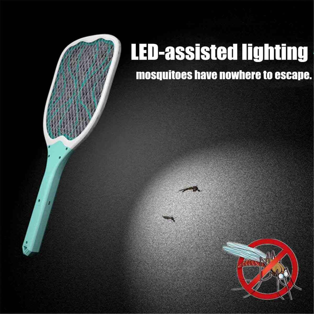 USB akumulator elektryczny Fly packa na komary urządzenie przeciw komarom chroń ludzką łapka na owady ręczny rakieta owady zabójca z LED