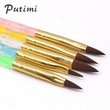 PUTIMI 5PC a set of UV Gel Nail Brush Acrylic Nails Design Brush Pen Tools for Nail Art Brushes for Manicure Rhinestones Powder