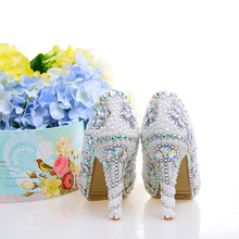 Women Wedding Pearl Shoes White High Heels Crystal Decor Round Toe Sexy Female Bridal Shoes