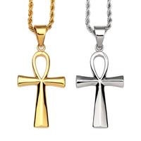 NYUKI Titanium Steel Egyptian Ankh Key Of Life Simple Gold And Silver Cross Pendant Necklace Classic