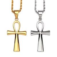 Nyuk titanium aço ouro egípcio ankh chave de vida simples e Colar de Pingente de Cruz de Prata Clássico das Mulheres Dos Homens Hip Hop jóias
