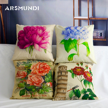 Linen Vintage Floral embroidered Cushion Cover Flower Tree of Life Cotton Pillow Case Rose Covers Sofa Decoration