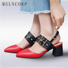 plus size 34-43 Fashion Summer Women Sandals Rivets Buckle Strap Comfort Square High Heels Pointed Toe Pumps High Quality Shoes