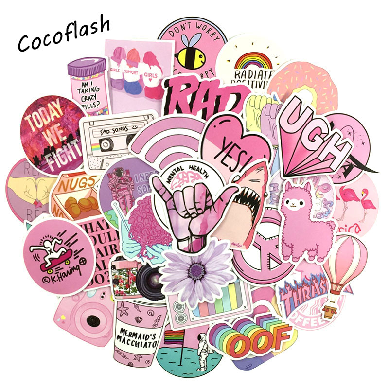 53PCS/lot Cartoon Pink INS Style Vsco Girl Stickers For Laptop Moto Skateboard Luggage Refrigerator Notebook Laptop Toy Sticker