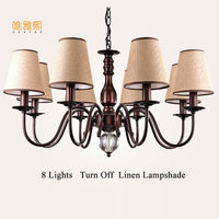 White Fabric Lampshade Chandelier Iron Modern Crystal Chandeliers American Style Indoor Lighting Fixture