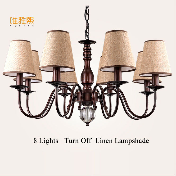 crystal chandelier white Fabric lampshade chandelier iron modern crystal chandeliers american style indoor lighting fixture