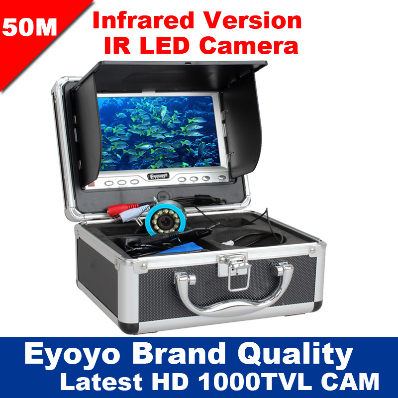 Eyoyo Original 50M 1000TVL Fish Finder Underwater ICE Fishing 7 Video Camera Monitor Night Vision Infrared IR LED Free Sunvisor eyoyo 80m professional underwater ice fishing camera night vision fish finder 7 monitor 1000tvl hd cam 12pcs infrared led